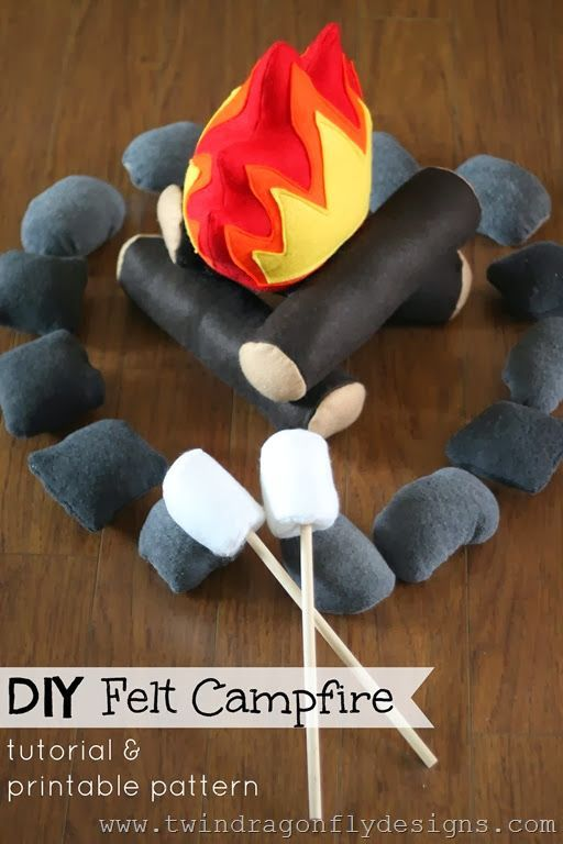 DIY Felt Campfire Pattern on Twin Dragonfly Designs at http://www.theprincessandhercowboys.com/2013/06/spy-equipment-gift.html