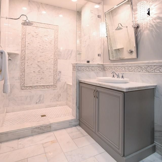 Hampton Carrara Marble Tile Bathroom #thetileshop