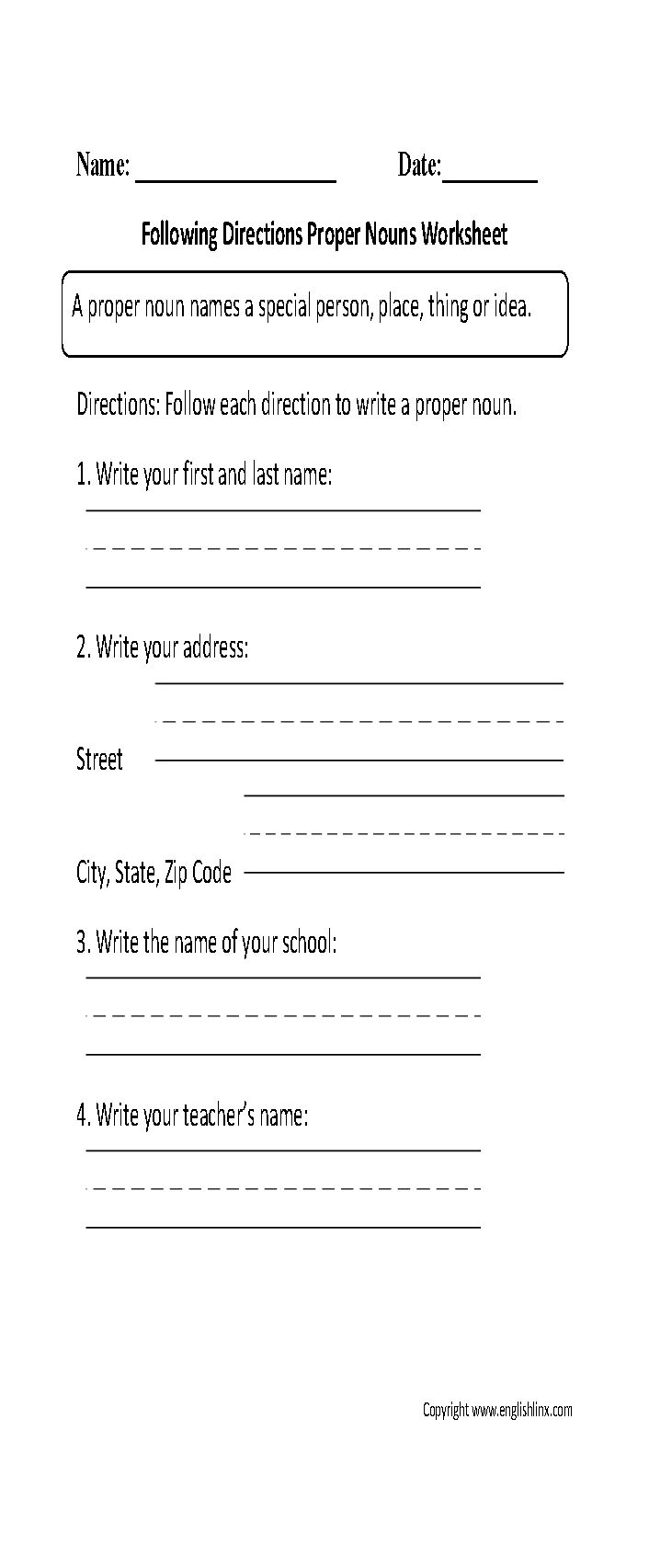 worksheet Noun Worksheets 4th Grade 17 best ideas about proper nouns worksheet on pinterest a noun names special person place thing or idea common any idea