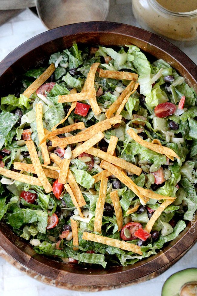 Southwest Pepper Jack Salad with Creamy Avocado Salsa Dressing salad-creamy-avocado-salsa-dressing/PERFECTO!
