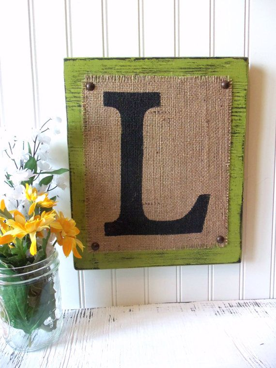 BURLAP sign monogram Letter Home or Wedding by OldAndNewShoppe, $26.00