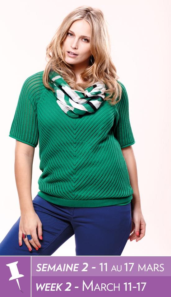 Open stitch sweater, tank, coloured denim, printed scarf / Tricot à mailles fines, camisole, denim coloré, écharpe à imprimé #reitmans #plussizes #taillesplus #reitmanspinittowinit