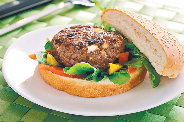 Feta and olives add a gourmet twist to these traditional beef burgers.