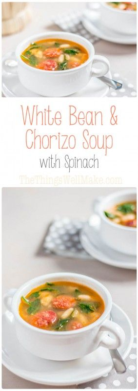 The perfect, hearty soup for a cold, rainy day, this white bean and chorizo soup with spinach is a flavorful comfort food that you'll want to make again and again.