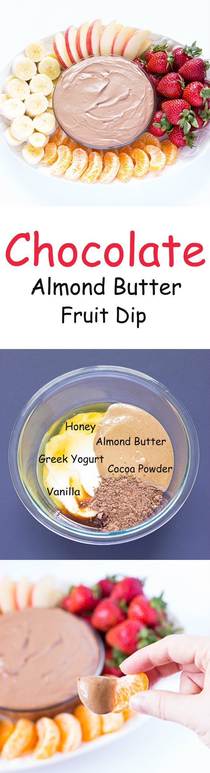 Chocolate Almond Butter Fruit Dip - A #healthy yogurt based dip perfect for a snack, appetizer, or even dessert. #ad #CrunchOn