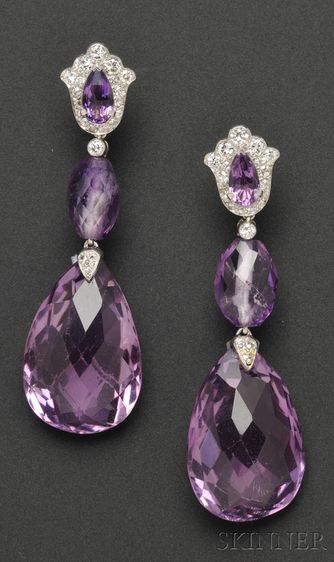 Platinum, Amethyst, and Diamond Ear Pendants by Cartier: each shaped top set with pear-cut amethyst and suspending faceted drops, full and single-cut diamond accents, lg. 2 1/8 in., no. 2818369, signed.