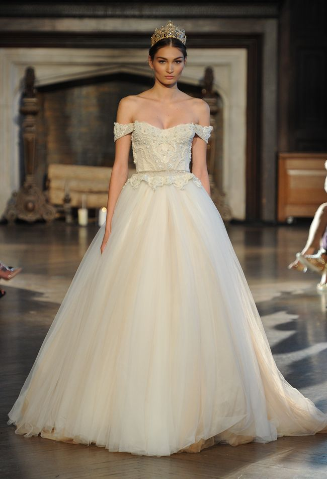 Off-the-Shoulder Ball Gown | Inbal Dror Wedding Dresses Fall 2015 | Maria Valentino/MCV Photo | Blog.theknot.com
