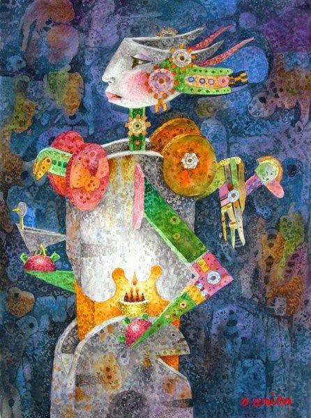 """De la serie """"Homo evolutis"""", Autor: Orlando Arias Morales. Técnica: Acuarela"""
