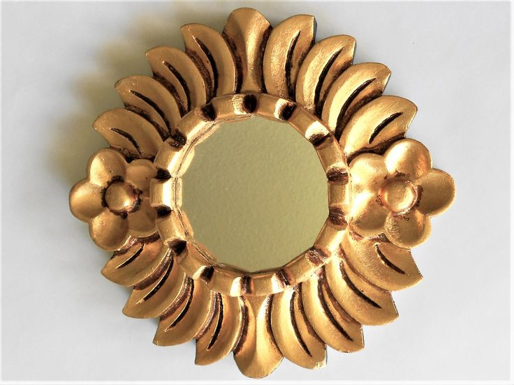 "8"", Mirror Gold, Round Mirror, Small Wall Mirror, Wall Hanging, Gold Leaf Mirror, Decorative Mirrors, Gold Mirror, Flower Mirror by GoldLeafGirl on Etsy"