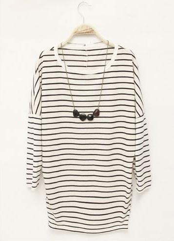 #SheInside Striped Losse Long-sleeved T-shirt