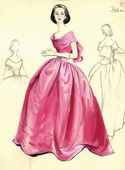 Evening gown sketch by Balenciaga for Bergdorf Goodman, 1950s.