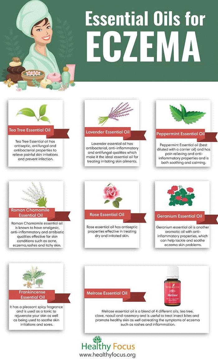 Eczema essential oils for eczema infographic...