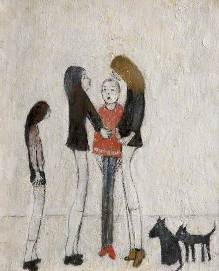 Lowry, Laurence, (1887-1976), Teenagers, 1965, Oil
