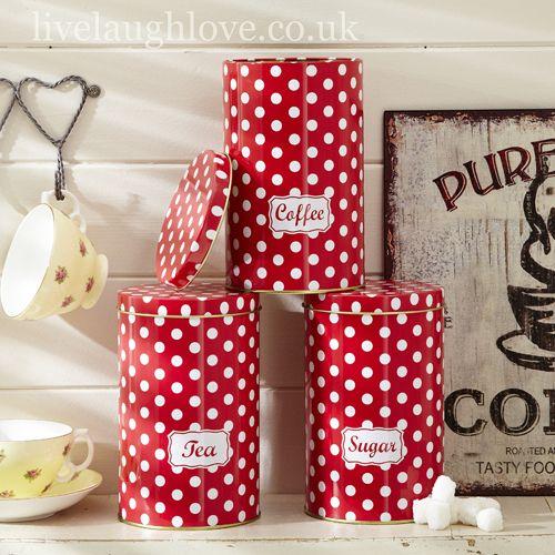 Set Of 3 Red Polka Dot Tea,Coffee & Sugar