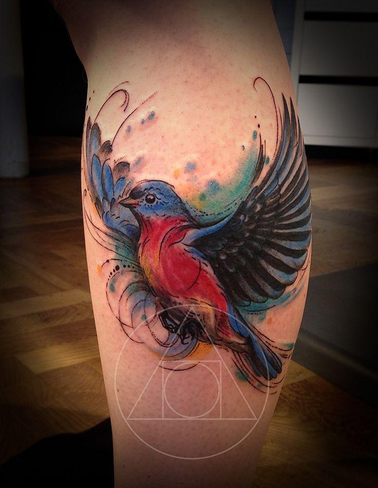 Bird, sketch, calf tattoo on TattooChief.com