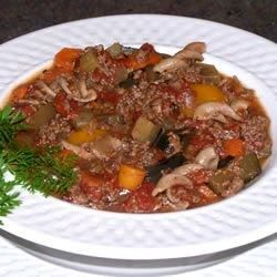 Eggplant soup made with ground beef and vegetables. I used sausage, yum!