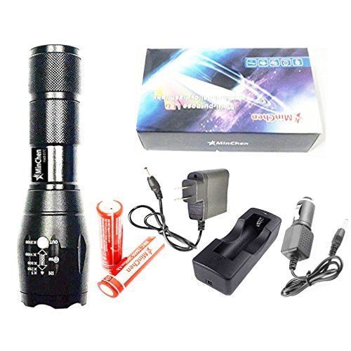 Minchen Super bright 5mode XML T6 E17C LED Flashlight Hiking camping torch  2pcs protected 18650 37v Rechargeable Battery and AC Charger car charger included * You can find more details by visiting the image link.