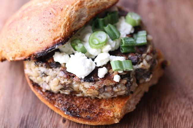 Cremini Burgers with Goat Cheese and Fig Aioli