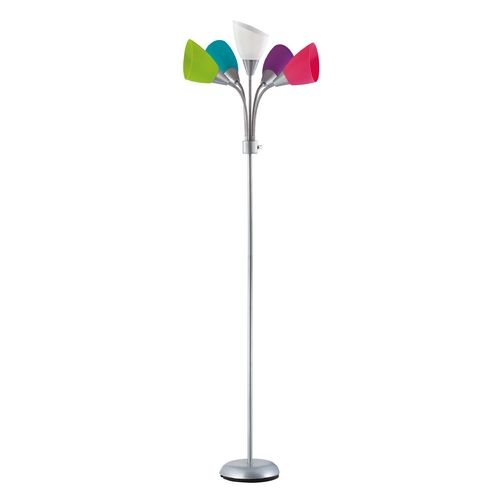 Colored Floor Lamps: Eclectic and funky floor lamp in a silver finish with five colorful acrylic  shades with adjustable arms. Colors include green, white, blue, red, and  purple.,Lighting