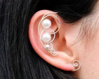 Cartilagine argento nera rossa delicata non filo Ear Cuff