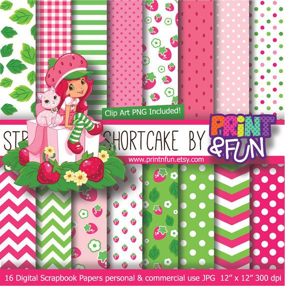 STRAWBERRY Shortcake Digital Paper Background girly fiuscha chevron for party printables invitations scrapbooking strawberries