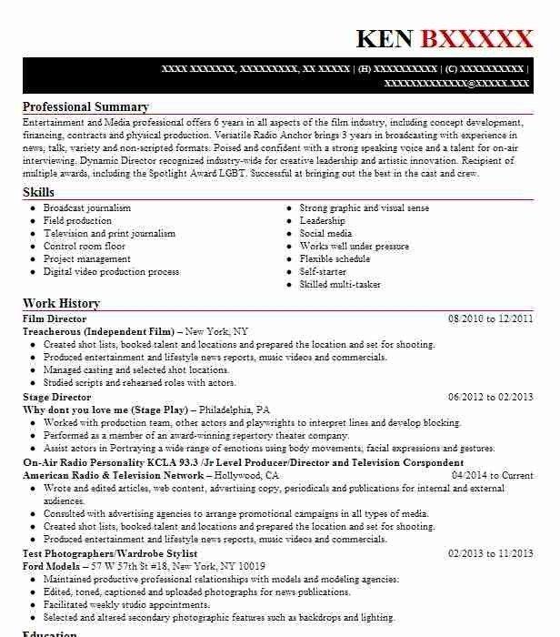 Film Production Resume Sample Monster Video Resume Resume Examples Resume
