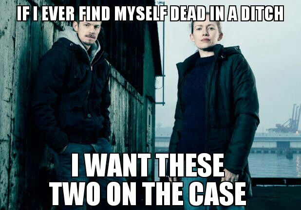 If I ever find myself dead in a ditch, I want Holder and Linden on the case. The Killing.