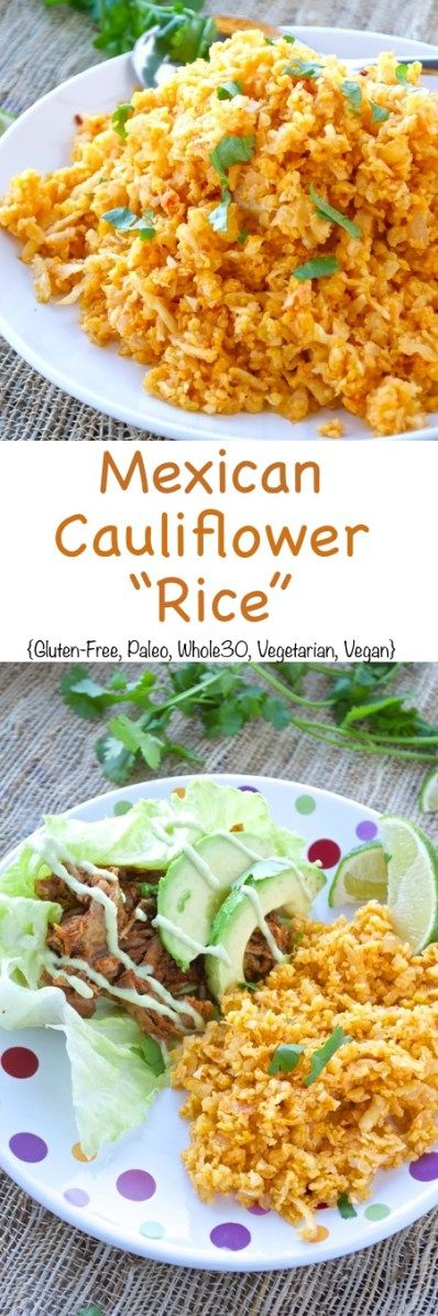 All the flavors from traditional Mexican Rice without all the carbs! This version uses cauliflower in place of rice, which makes it the perfect light and healthy side dish.  {whole30}