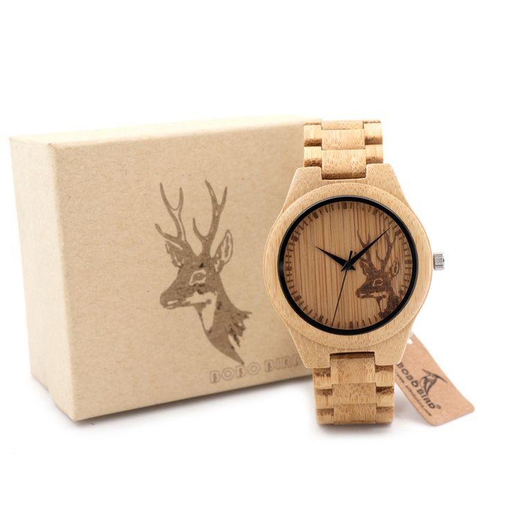 BOBO BIRD All Wood Bamboo Watches Top Brand Designer Men's Wooden Watches Deer Designer Quartz Watches for Men in Gift Box