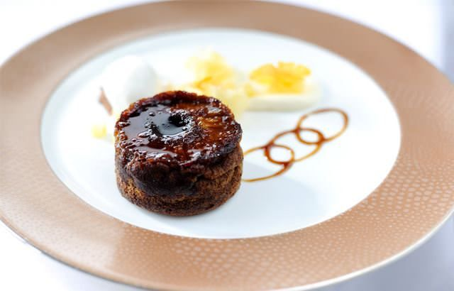 Baked pineapple and ginger cake with muscovado sugar and mascarpone sorbet
