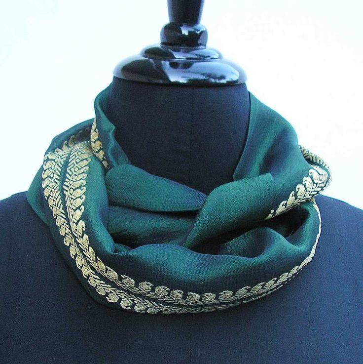 Emerald green Infinity scarf, sari scarf, upcycled scarf, green cowl, emerald cowl, boho scarf, green scarf, summer scarf, emerald scarf by Rethreading on Etsy