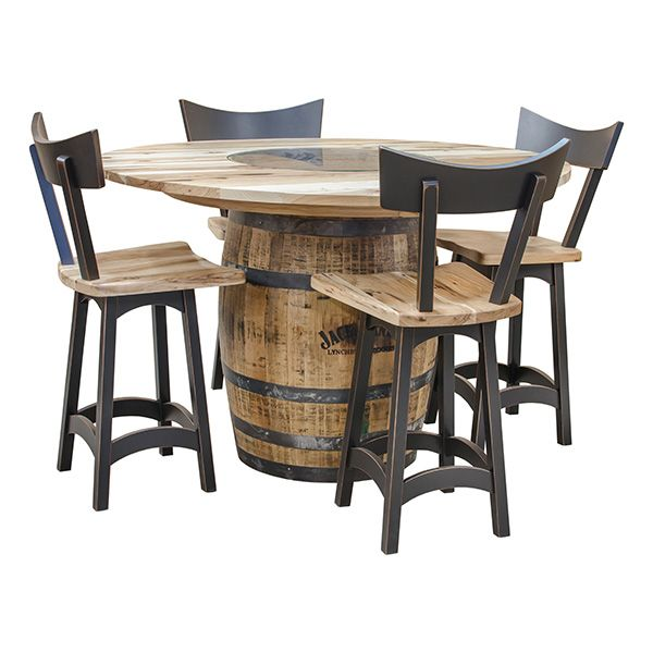 This unique Pub table has a glass inset above Jack Daniels logo on top. The hickory top has a natural finish to accentuate the beautiful grain of the wood. The base is an actual repurposed Jack Daniels Barrel made of Solid White Oak. This unit is also available without logo if requested. This uncommon pub table can also be used as a fine community table.
