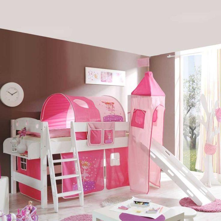 Kinderhochbett mit Rutsche rosa
