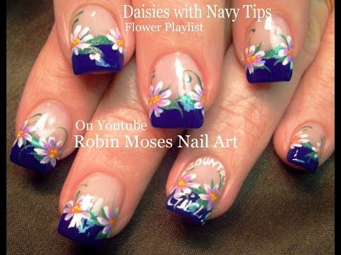 Nail Art! White Daisy Nails! DIY Cute Flower Nail Design Tutorial - YouTube