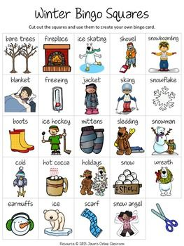 "Winter Free Create Your Own Luck Bingo - This resource includes 24 winter related images and vocabulary words and a blank ""MY BINGO CARD"" template that students can use to create their own unique winter themed bingo cards.  DOWNLOAD. PRINT. DONE!About Jason's Online ClassroomSign up for our EMAIL NEWSLETTER to receive important news, product announcements, and special deals and promotions."