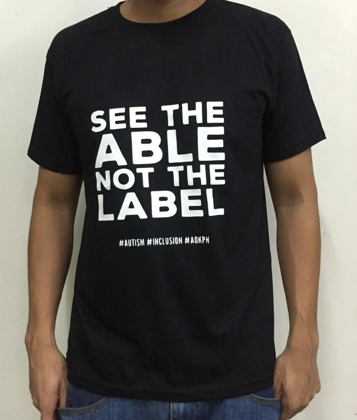 "This cotton shirts bear ASP's ""Hugot"" lines which celebrate life on the autism spectrum.  ""See the able, not the label."" Discover what persons with #autism can do and what they are passionate about. Their diagnosis should not define who they are.  Order this item at: https://autismall.myshopify.com/products/shirt-see-the-able"