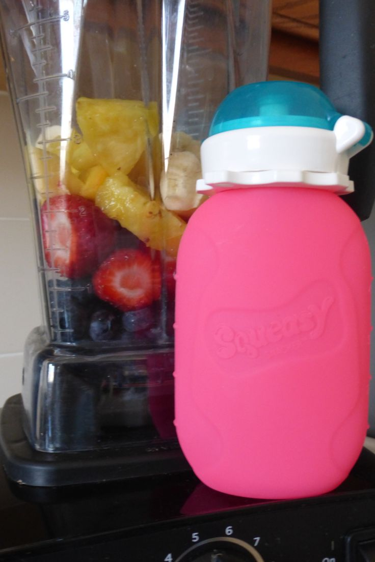 Make a yummy kid smoothie in your Squeasy Snacker reusable food pouch!  1/2 cup blueberrries 1 cup frozen strawberries 1/2 cup pineapples 1/2 frozen banana 1/2 cup spinach 1 cup plain greek yogurt