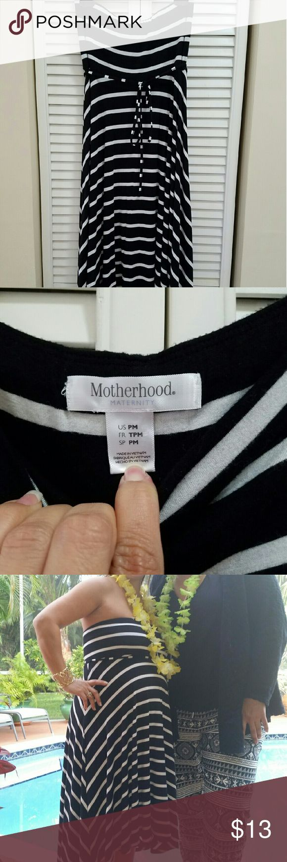 Maternity dress Strapless, black and white hi low dress Dresses High Low