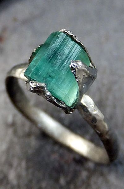 Raw Sea Green Tourmaline White Gold Ring Rough Uncut Gemstone, beautifully set