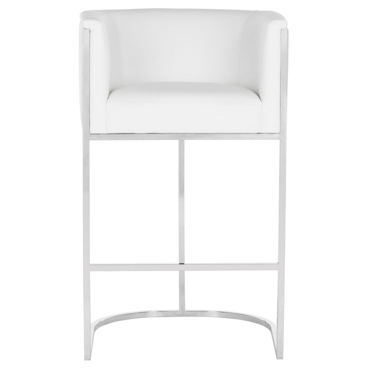 Safavieh Couture Shiloh White Leather Bar Stool (Fabric)