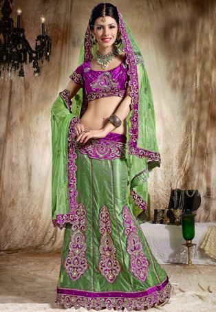 Light Green Net Lehenga Choli with Dupatta