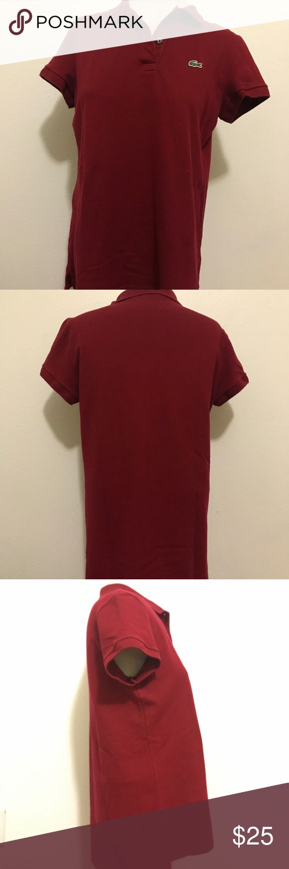 """Lacoste Ladies Polo Shirt Authentic Lacoste Ladies  Polo Shirt. In excellent pre-owned condition. Size 44 but runs Medium. Made in Peru, designed in France. Red in color. Material is 94%Cotton and 6% Elastane. Measures 25"""" long from shoulders down. 19"""" on chest area. Lacoste Tops Tees - Short Sleeve"""