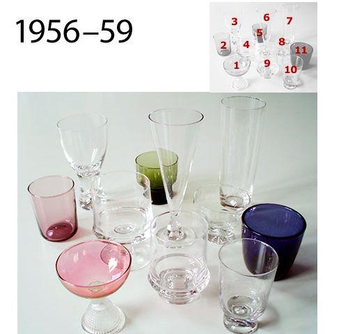 Lasistoja, glass sets 1956-59Lasistoja, glass sets 1956-59 || 1. Briljant, 2. Vate, 3. Tapio, 4. & 9. Marski, jalallinen ja jalaton, 5. viinilasi, wine glass 2008 i-112, 6. Tiima, 7. kirk. mehulasi, juice glass 2204, 8. Mutteripohja, 10. Future, 11. puristelasi, useita värejä, pressed glasses, sevaral colours