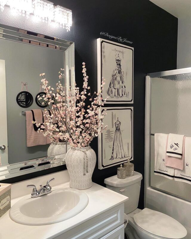 Five Things You Can Do To Create A Glam Bathroom Designs By Jeana Bathroom Decor Apartment Restroom Decor Bathroom Decor