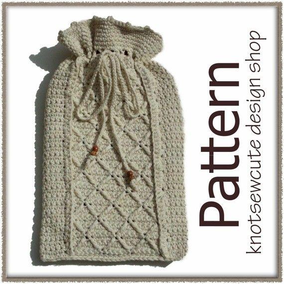 Aran Hot Water Bottle Cover  Crochet Pattern by knotsewcute, $3.49