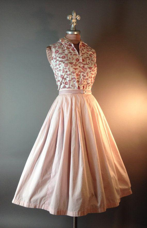 50s dress vintage 1950s HATS PARASOLS NOVELTY by capricornvintage