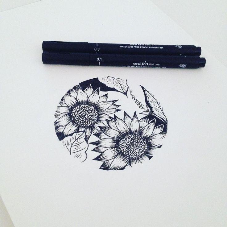 Sunflowers in circle #graphicbyd #minimalisttattoo #minimalistdrawing…