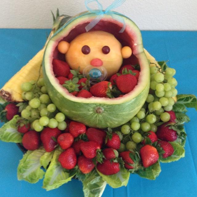Baby fruit basket :)Baby Fruit Baskets, Baby Shower
