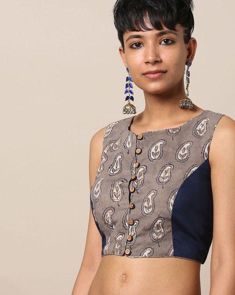 34180cf5d81250 Buy Indie Picks Women Navy Blue Printed Pure Cotton Sleeveless Blouse   AJIO