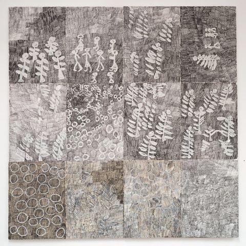 Nyapanyapa Yunupingu's 'Djorra (paper) 1', 2014 currently included in 'Close to home', Dobell Australian Drawing Biennial, 2016 at the Art Gallery of NSW, Sydney. July 30 - December 11, 2016. #yunupingu #roslynoxley9 #closetohome #biennial #dobell #australianartist #drawing #artist #indigenous #djorra